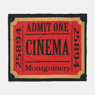 Home Cinema Movie Ticket Stub Personalized Fleece Blanket