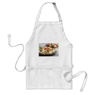 Home-cooked meals on a gray mat - spaghetti standard apron