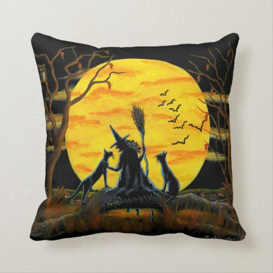Home,decor,pillow,Halloween,witch,bats,owl,spider Throw Pillow