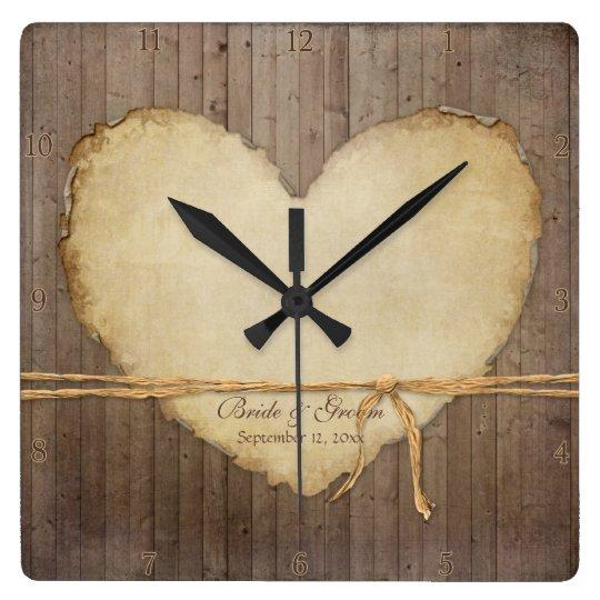 Home Decor Rustic Wood Fence Boards Heart Bridal Wallclock