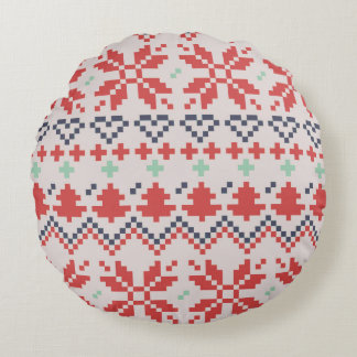 Home designers rounded Pillow with folk pattern