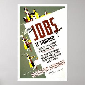 Home Economics Training 1940 WPA Poster