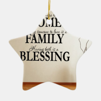 Home + Family = Blessing Ceramic Ornament