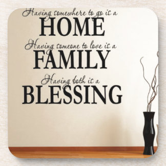 Home + Family = Blessing Coaster