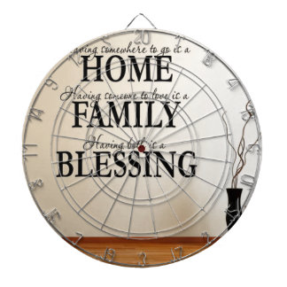 Home + Family = Blessing Dartboard