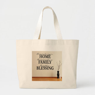 Home + Family = Blessing Large Tote Bag