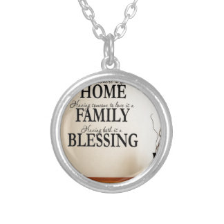 Home + Family = Blessing Silver Plated Necklace