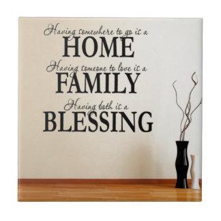 Home + Family = Blessing Tile