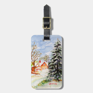 Home for Christmas Snowy Winter Scene Watercolor Luggage Tag