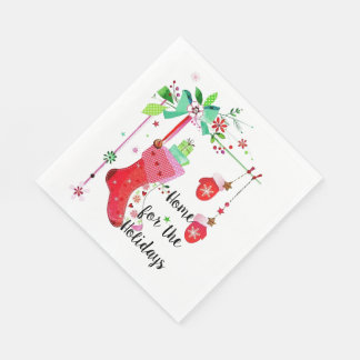 Home for the Holidays Christmas Holiday Napkins Paper Napkins