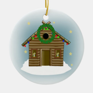 Home For The Holidays Log Cabin Christmas Ceramic Ornament