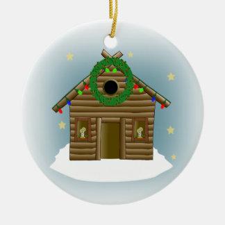Home For The Holidays Log Cabin Christmas Round Ceramic Ornament