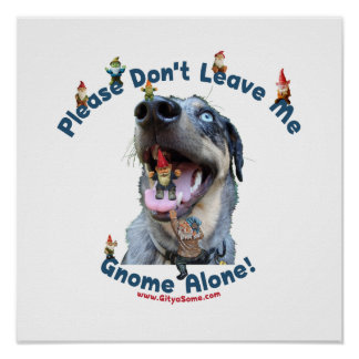 Home Gnome Alone Dog Print
