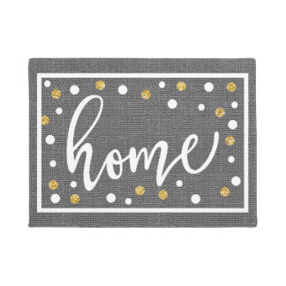 Home Gray Faux Burlap White and Gold Confetti Doormat