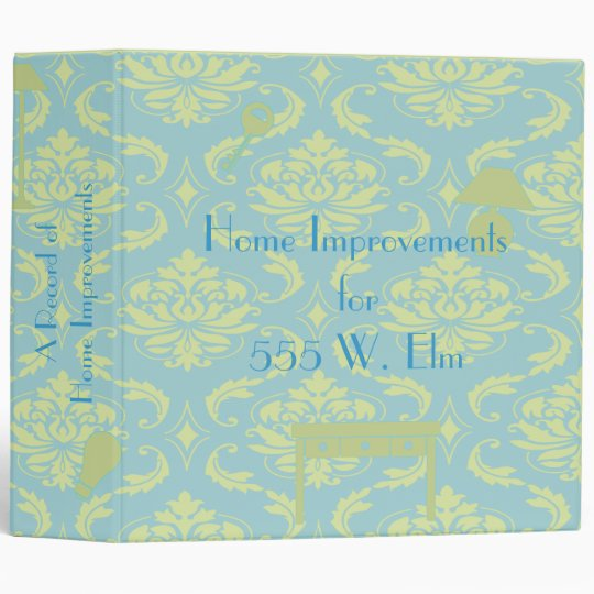 Home Improvement Binder - Damask in Aqua and Green