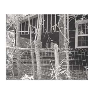 Home in Black and White Stretched Canvas Print