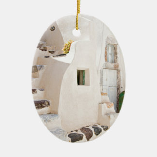 Home in Santorini Ceramic Ornament