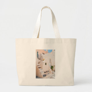 Home in Santorini Large Tote Bag