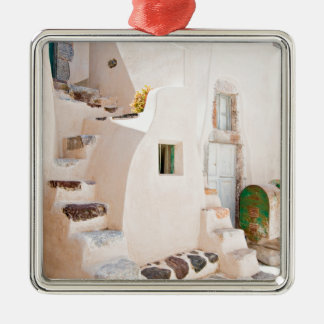 Home in Santorini Metal Ornament