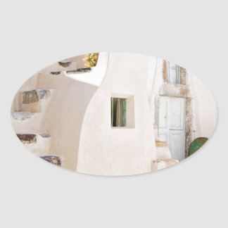 Home in Santorini Oval Sticker