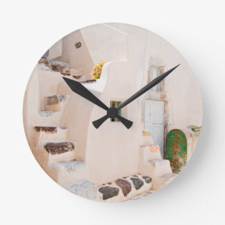 Home in Santorini Round Clock