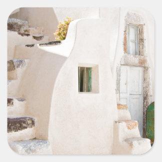Home in Santorini Square Sticker