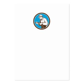 Home Insulation Technician Retro Circle Business Card