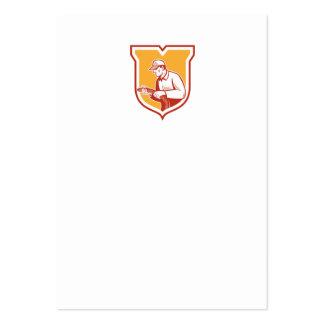 Home Insulation Technician Retro Shield Business Card