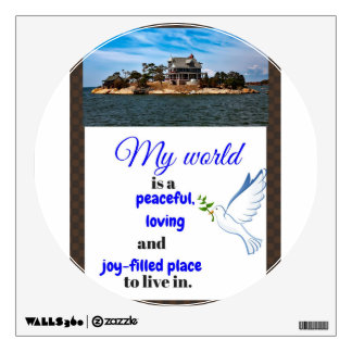Home interior holiday designs, peaceful world art wall decal