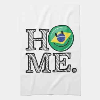 Home is Brazil Smiling Flag House Warmer Hand Towels
