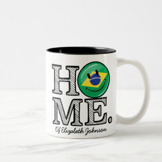 Home is Brazil Smiling Flag House Warmer Two-Tone Coffee Mug