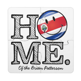 Home is Costa Rica Smiling flag Housewarming Puzzle Coaster