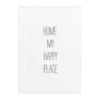 "Home is My Happy Place Acrylic Wall Art, 24"" x 36"" Acrylic Wall Art"