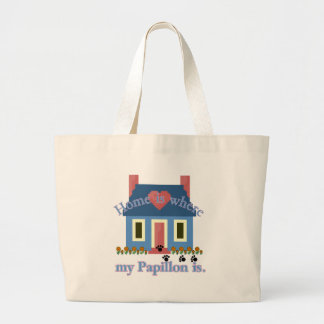 Home is Papillon Large Tote Bag