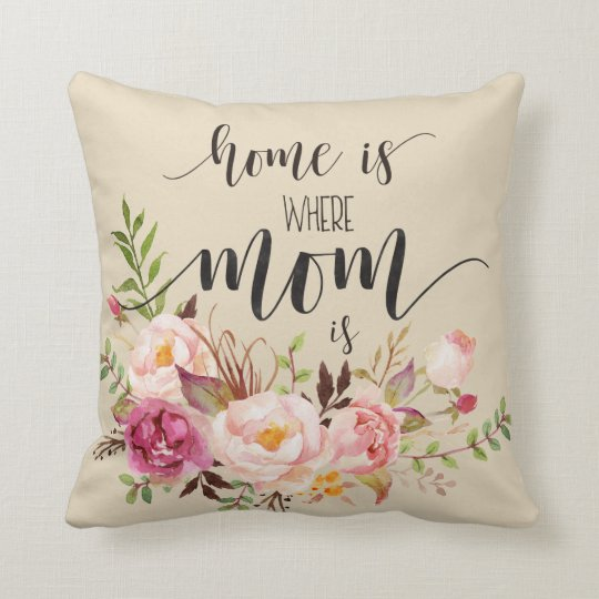 """Home is where mom is"" Mother's Day Gift,Birthday Throw Pillow"