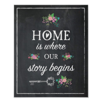 Home is where our story begins Chalk Floral Poster