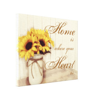 Home Is Where Sunflower Mason Jar Wrapped Canvas Canvas Print