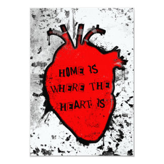 "home is where the anatomical heart is 3.5"" x 5"" invitation card"