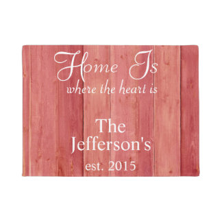 Home is where the heart is Red Woodgrain Doormat