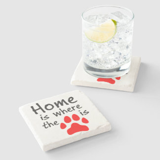 Home is where the paw print is stone coaster