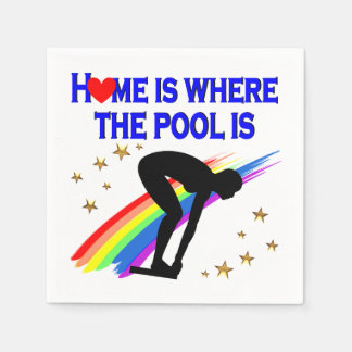 HOME IS WHERE THE POOL IS FOR THIS SWIMMER DISPOSABLE NAPKINS