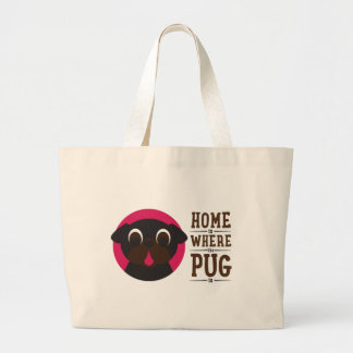 Home Is Where The Pug Is Black Pug Tote
