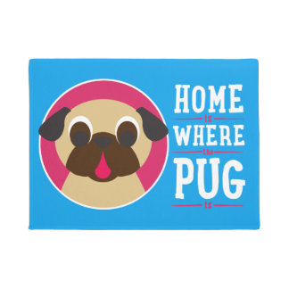 Home Is Where The Pug Is Fawn Pug Doormat