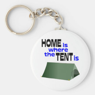 Home Is Where The Tent Is Basic Round Button Keychain