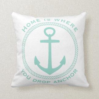 Home Is Where You Drop Anchor Aqua on White Throw Pillow