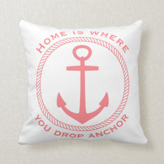 Home Is Where You Drop Anchor Coral Pink on White Throw Pillow