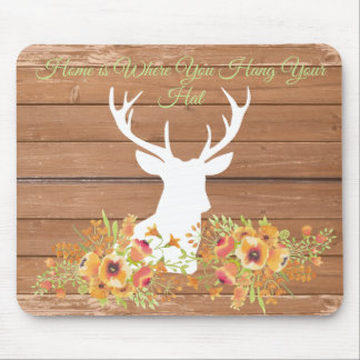 Home is Where You Hang Your Hat Farmhouse Antlers Mouse Pad