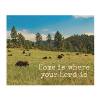"""""""Home is Where Your Herd Is"""" Wooden Wall Art"""