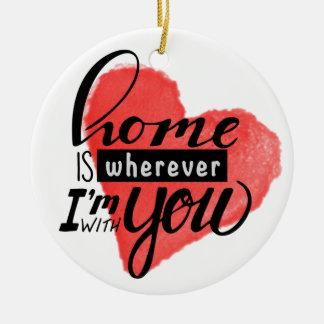 Home is Wherever | Heart Ceramic Ornament