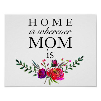 Home is Wherever Mom Is - Mothers Day Poster